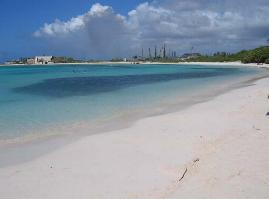 Baby Beach with Refinery in background