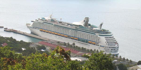 Ariel view of Adventure of the Seas at St Thomas